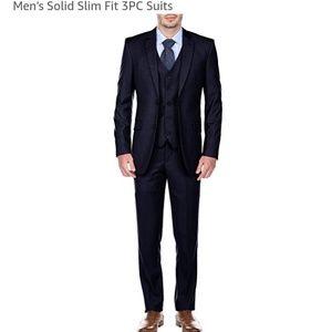 Mens Dark Blue 3pc Suit